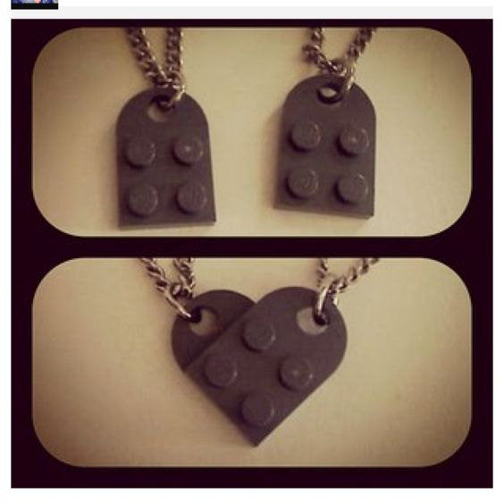 """Lego heart necklace <3 Cute idea to do with the boys! *Need """"coupling plates"""" from lego.com*"""