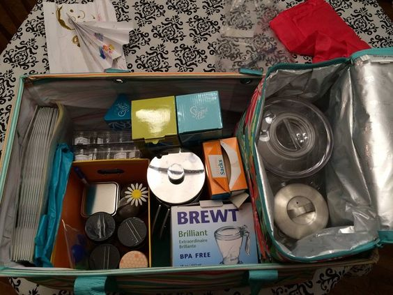 Christine Benko shows off her impeccable organizational skills with her Steeped Tea party tote. You're an inspiration to us all, Christine!
