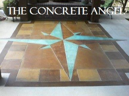 Engraved concrete compass rose