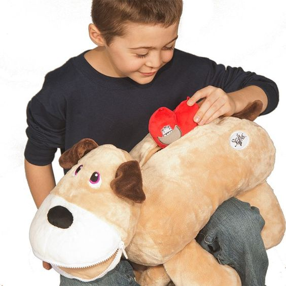 Price: $45.00 - The Stuffies Gift Set includes a stuffed animal that has 7 pockets, the matching figurine, book, stickers, another book entitled Its Whats Inside That Counts, Stickers and the Heart. Fast Processing and 2 to 3 day priority Shipping is included. There are several animal choices Dog, House, Bear, Dinosaur, Bee, Monkey, Unicorn, Hippo, Pig, Turtle and Giraffe.