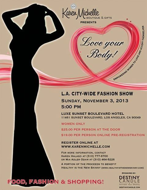 We are covering this amazing event the first weekend in November! Register at Karen Michelle to attend too!  http://www.karenmichelle.com/  #KarenMichelle #loveyourbody #losangeles #fashion #fashionweek #womenonly #ppla #presspassla