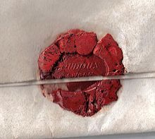 An applied seal on a letter from Loudoun Castle, Scotland