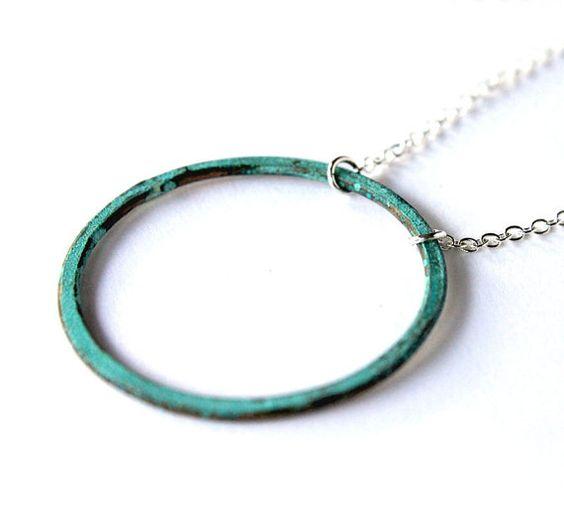 Verdigris Patina Necklace Rustic Copper Circle Aqua