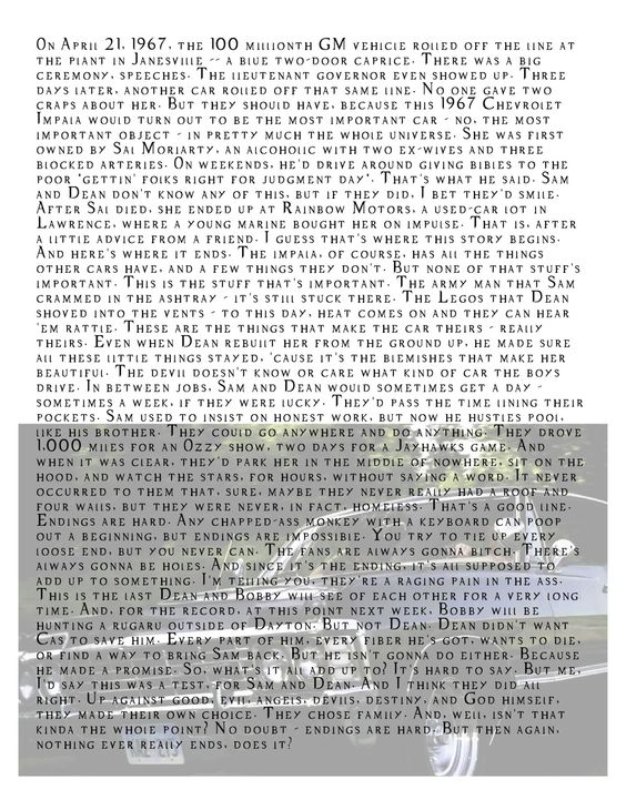 Chuck's monologue about the Impala 5x22 Swan Song