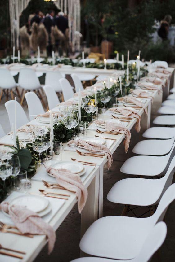 greenery / blush wedding table setting