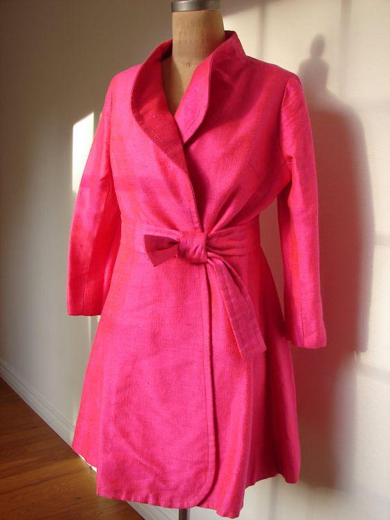 Vintage Raw Silk Jacket Coat Hot Pink Fuschia by avintagelalife