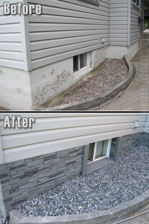 Get rid of a plain concrete foundation that is showing by adding rock.: