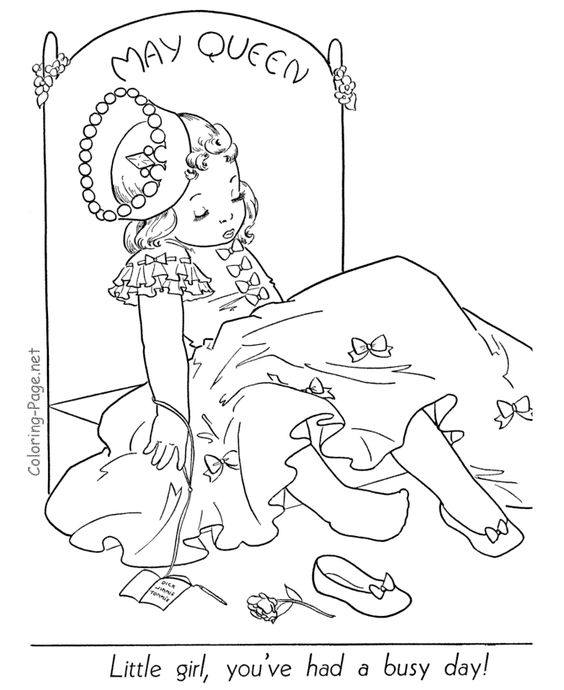 spring coloring page the may queen free sample join fb grown up