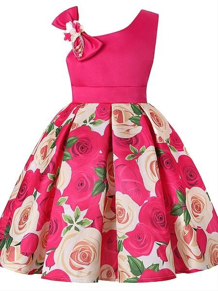 Toddler Baby Girls Printed Rose Dress Birthday Party Princess Clothes Kid Outfit
