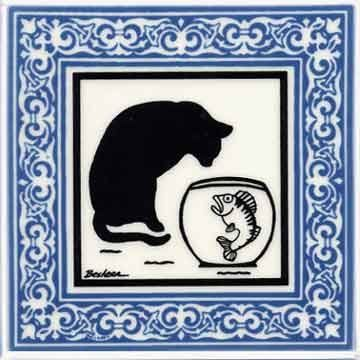 CAT TILE - CAT WALL PLAQUE - CAT TRIVETS WITH BLUE VICTORIAN BORDER: CA-7B by Besheer Art Tile, Bedford, N.H. U.S.A.: Office Products