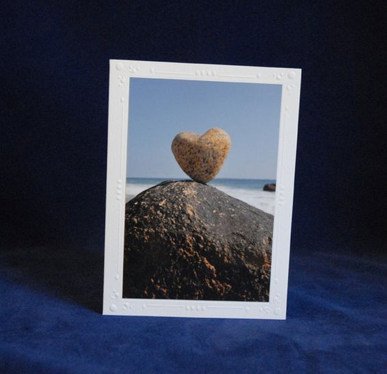Heart Rock Photo Cards & Postage Stamps Set by StampandNotePhoto, $20.00