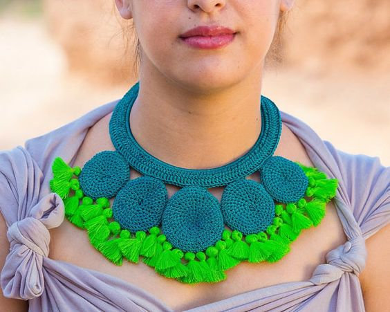 Disc Crochet Tassel Necklace  Turquoise and by HamimiMarrakech