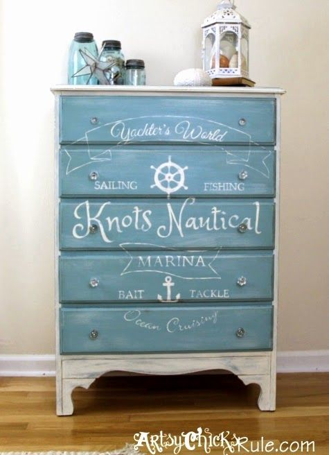 Nautical dresser and other awesome furniture makeovers for Nautical furniture