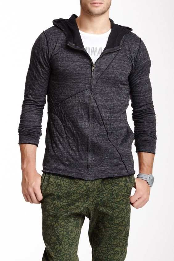 """Draper Zip Up Hoodie in heather black by Black Hearts Brigade $83 - $29 @HauteLook. - Attached hood - Front zip closure - Distressed trim and hem - 2 side seam pockets - Approx. 27"""" length - Made in USA Model's stats  - Height: 6'1'' - Suit: 40"""" - Waist: 30"""" Model is wearing size M. Machine wash. 50% polyester, 38% cotton, 12% rayon."""