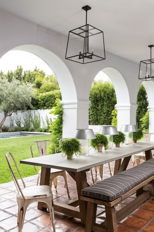 Mediterranean Style Outdoor Dining Space Outdoor Dining Room