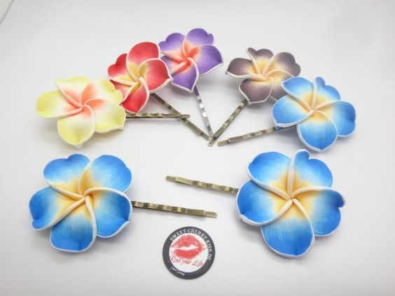 Hawaii  Rockabilly, mit Blüte  2x  Haarschmuck  ,  von Sweet-Cherry-Kiss auf DaWanda.com