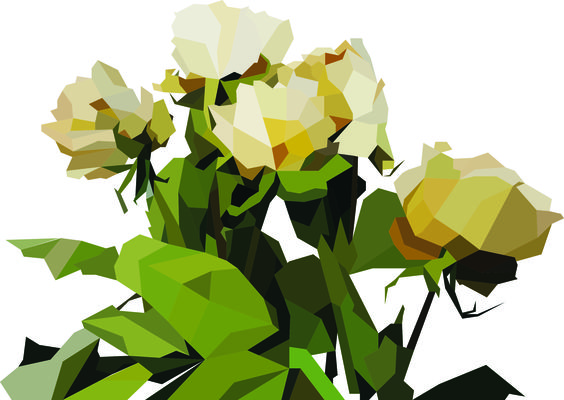 Low-poly vector flower illustration