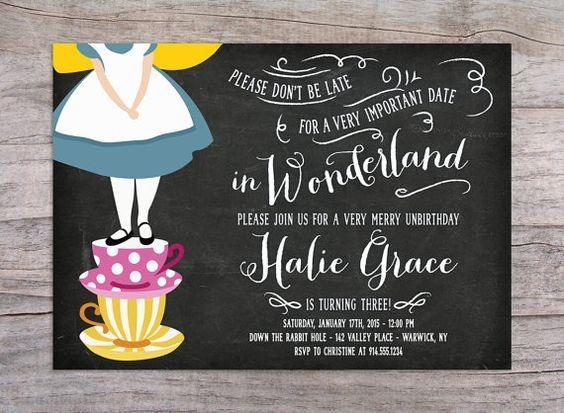 Alice in Wonderland Birthday Party Invitation by SprinklesByGracie::