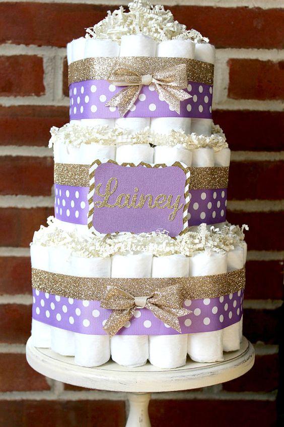 Tier lavender and champagne gold diaper cake elegant