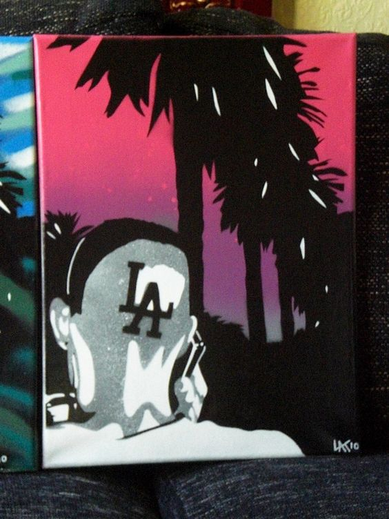 title- i love l.a.dimensions- 12 by 16 inchsmedium- spraypaint and stencil on canvasdescription- picture of man with l.a. shaved into hair,original one off painting,signed and dated by l.@.k.artplease specify which colour u would like from the two in picturefree shipping