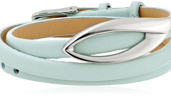 "Skagen ""Modern Leaf"" Light Green Leather Wrap Bracelet"