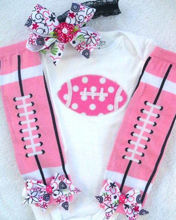 Baby Girl Football Onesie Leg Warmers and Hairbow by vpettet, $23.50
