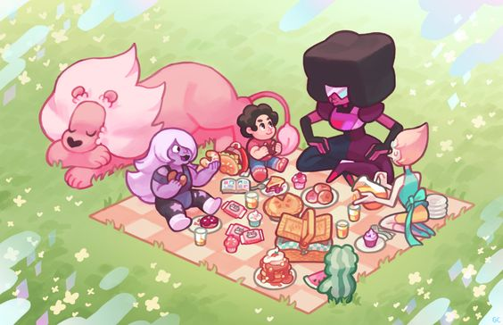 genicecream: gem picnic --- i doubt pearl would eat anything, considering she finds the entire process of eating and digestion revolting