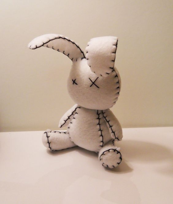 Felt little goth white rabbit plush stuffed toy. $25.00, via Etsy.