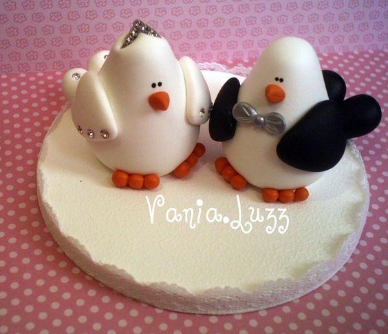Topo de bolo pombinhos | par Sonho Doce Biscuit *Vania.Luzz*