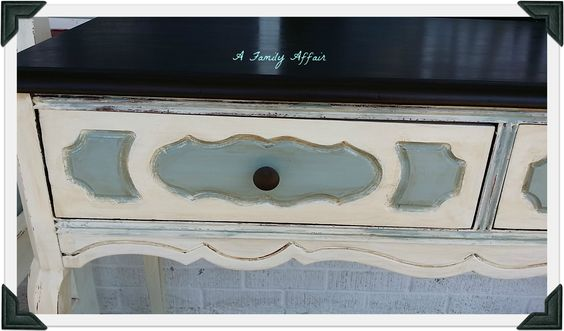 General Finishes Antique White, Persian Blue with Java Gel for the top. The antiquing was done with American Paint Company brown glaze. Everything was sealed with GF High Performance flat top coat.
