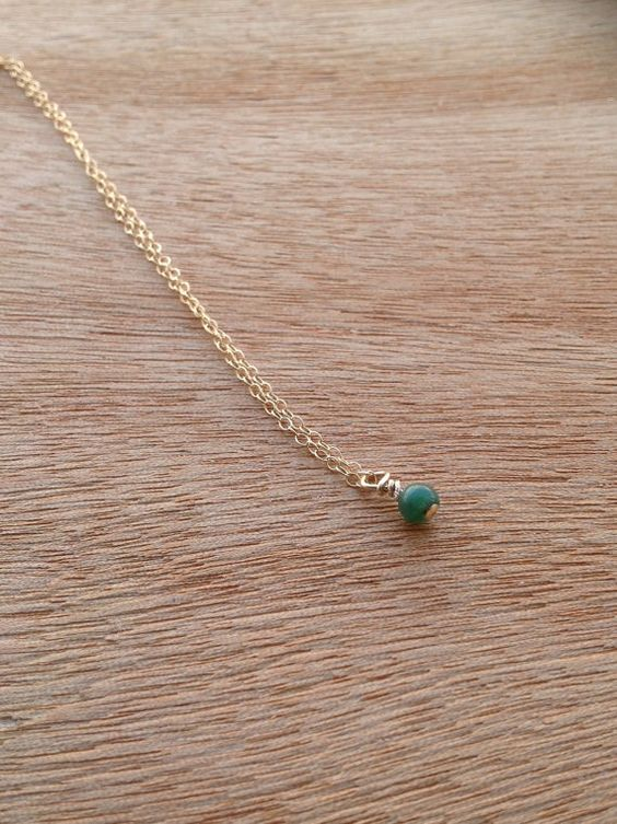 Tiny Jade Gold Filled Necklace Dainty Jade by simpleandgold