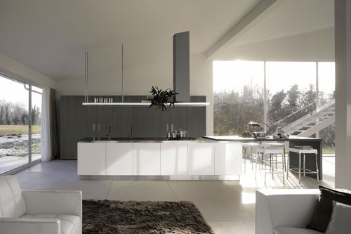 Wall-mounted extractor hood / island / with built-in lighting FASTEEL: LUX falmec