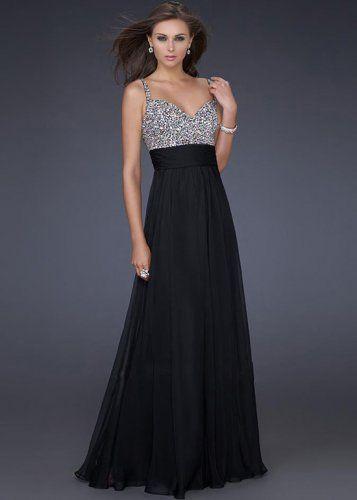 Long Black Sparkly Spaghetti Strap Prom Dresses Sale | Prom ...
