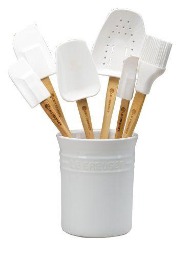 Amazon.com: Le Creuset Silicone 7-Piece Utensil Set, White: Utensil Organizers: Kitchen & Dining