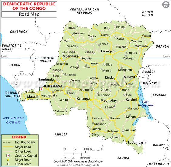 Democratic Republic Of The Congo Road Map Congo Pinterest - Angola road map