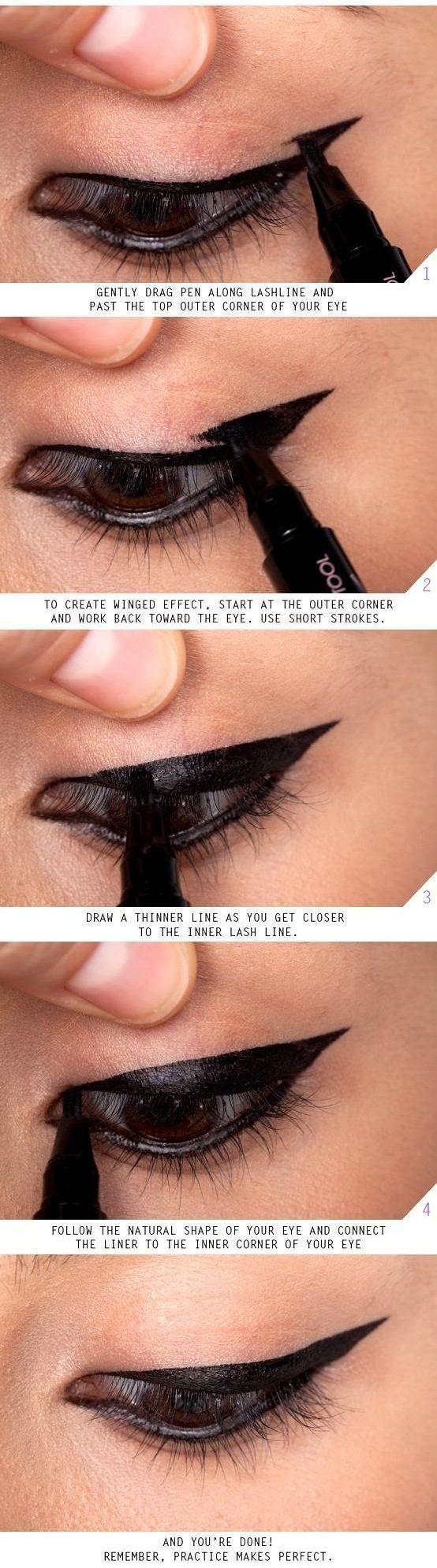 Amazing tutorials on eyeliner tricks for big eyes or small eyes.   http://makeuptutorials.com/makeup-tutorials-17-great-eyeliner-hacks/