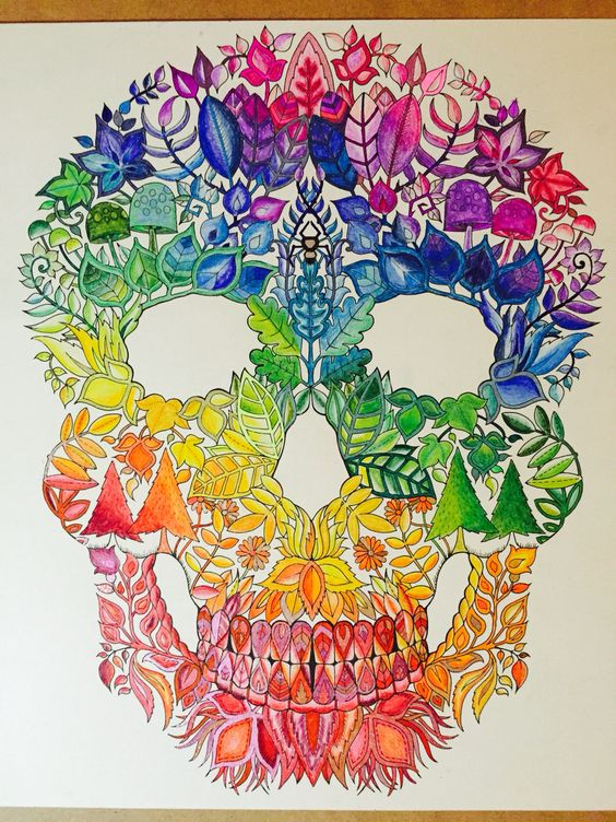 Skull From Johana Basfords Enchanted Forest Using Pencils Amp Gel Pens