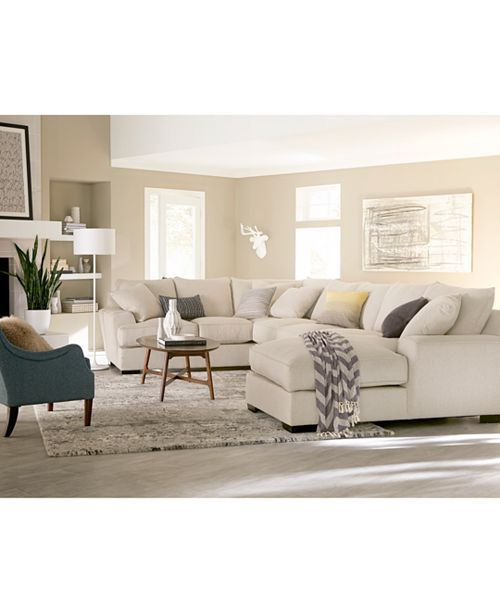 Furniture Ainsley 3 Piece Fabric Chaise Sectional Sofa With 6 Toss