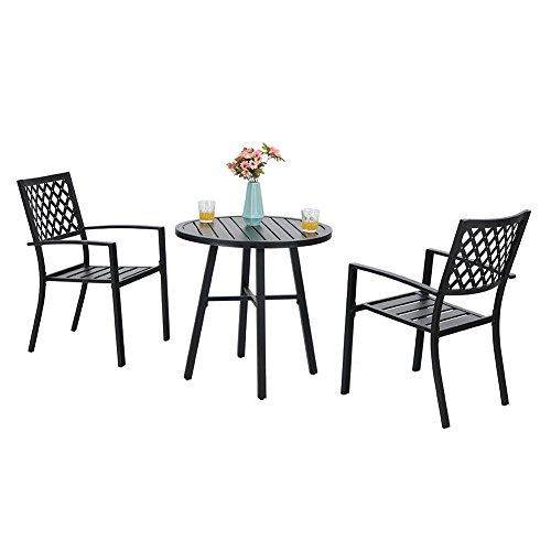 Phi Villa Outdoor Patio Metal 3 Piece Bistro Furniture Set 2 X Chair 1 X Table For Sale Bistro Furniture Bistro Set 3 Piece Bistro Set