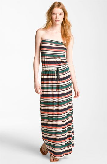 'Groovey' Strapless Stripe Maxi Dress