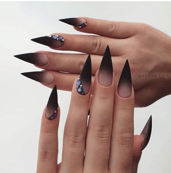 ombre nude black nails