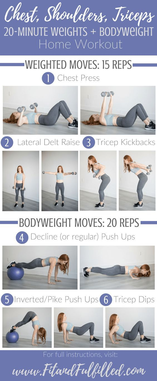 Shoulder Workout 20 Minute Weights Upper Body Strength Workout Chest And Tricep Workout Strength Workout