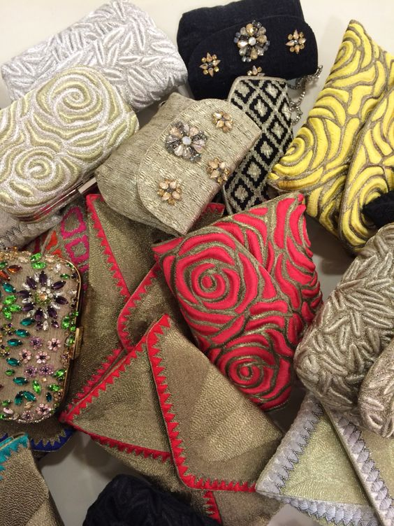 Hand embroidered clutches of the brand CHARM Luxury  Prices €199 - €299