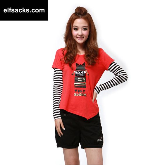 Womens Striped Round Collar Long Sleeve Tshirt Red