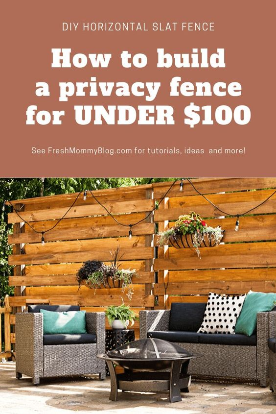 DIY Horizontal Slat Fence and Backyard Makeover. 8 ft tall privacy fence panels FOR LESS THAN $100!