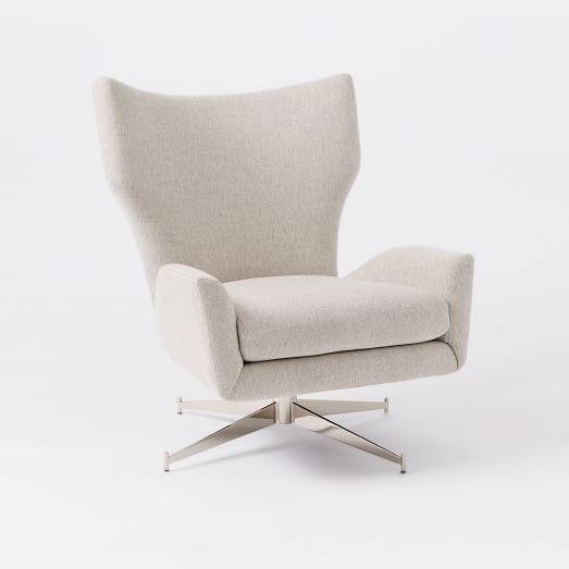 Hemming Upholstered Swivel Arm Chair, Stone