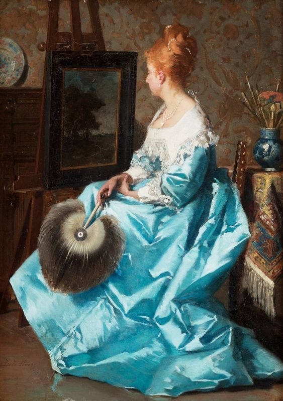 Jean de la Hoese Belgium   Lady in a blue dress.:
