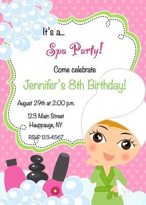 Spa Party Birthday Invitations! But put pink cheetah print background
