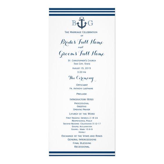 Nautical Anchor Wedding Program Rack Card Design