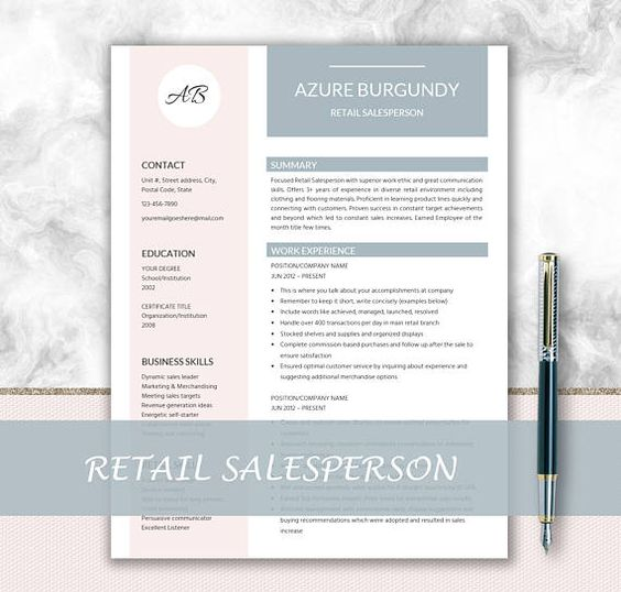 Professional Resume Template Cover Letter Design Resume 1 - cover letter retail
